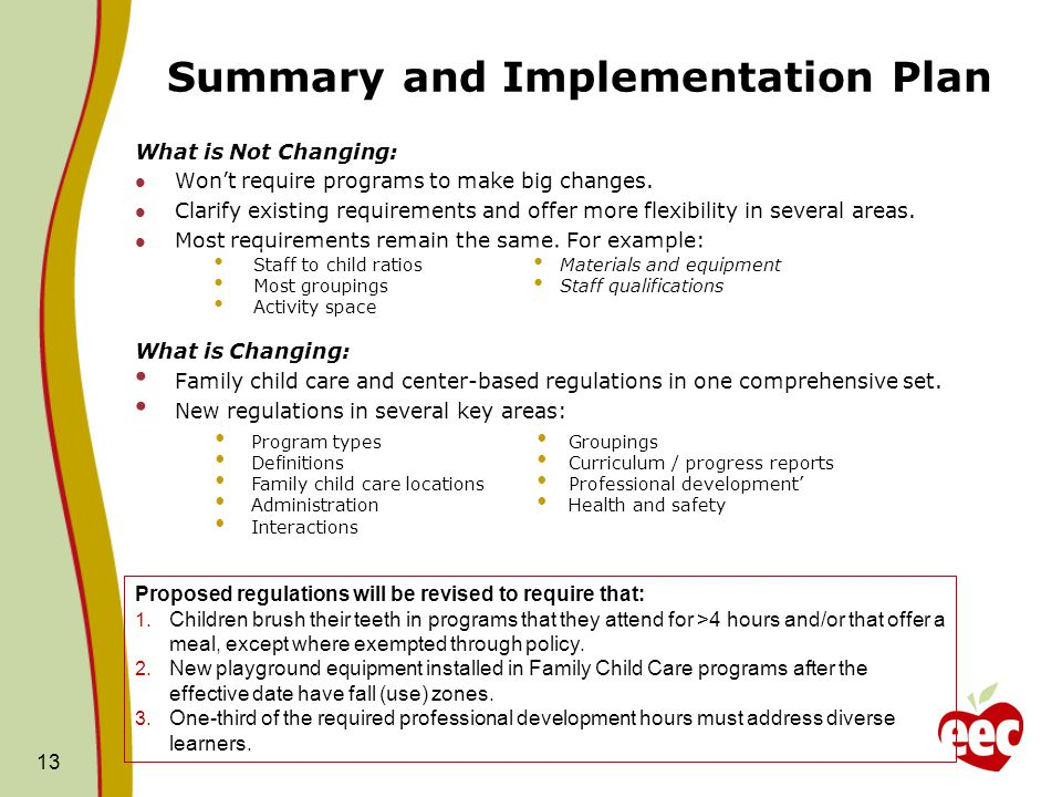 Summary and Implementation Plan What is Not Changing: Won't require programs to make big changes. Clarify existing requirements and offer more flexibi