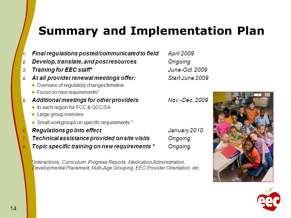 14 Summary and Implementation Plan 1. Final regulations posted/communicated to field April 2009 2. Develop, translate, and post resourcesOngoing 3. Tr