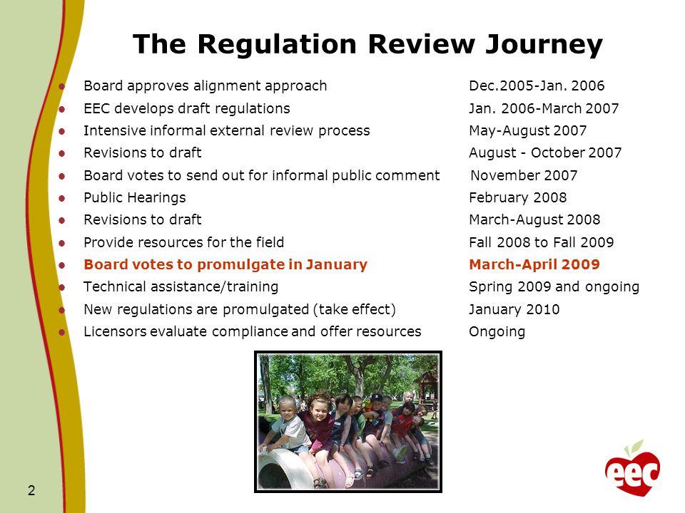 2 The Regulation Review Journey Board approves alignment approachDec.2005-Jan. 2006 EEC develops draft regulations Jan. 2006-March 2007 Intensive info