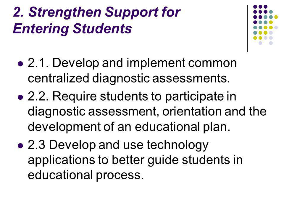 2. Strengthen Support for Entering Students 2.1.