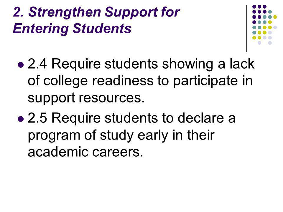 2. Strengthen Support for Entering Students 2.4 Require students showing a lack of college readiness to participate in support resources. 2.5 Require