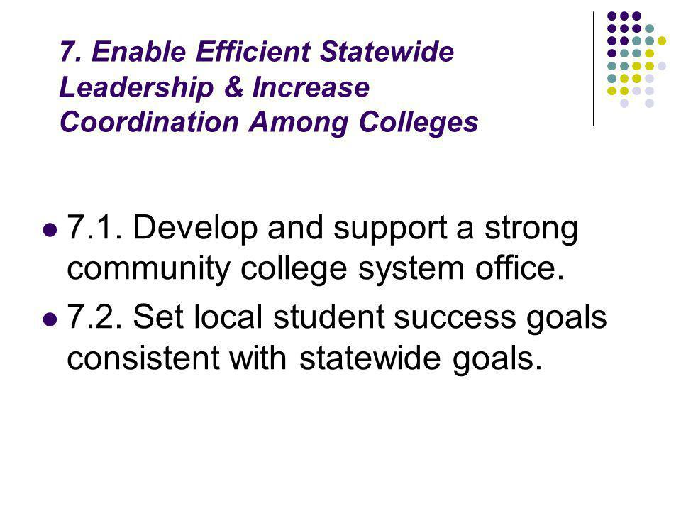 7. Enable Efficient Statewide Leadership & Increase Coordination Among Colleges 7.1.