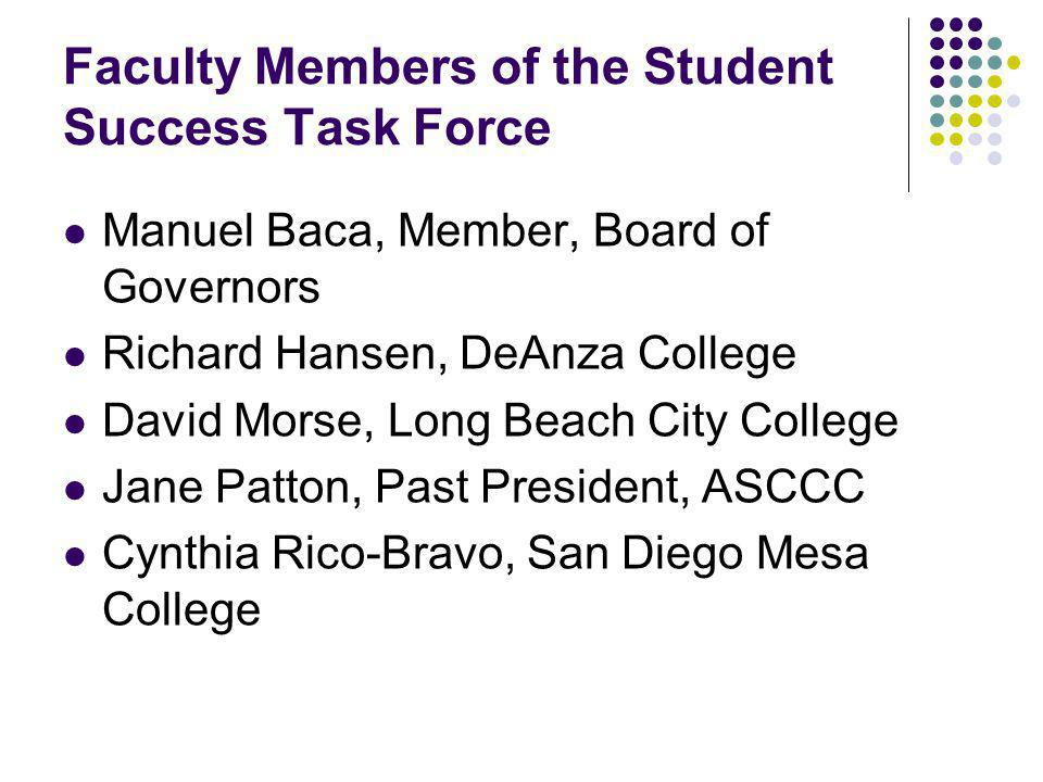 Other Members www.cccco.edu > task force on student success (upper right) www.cccco.edu Researchers – Gabriner and Shulock CEOs – Carroll (SDCCD), Harris (Los Rios), Duran (Merced; COTF) CIO, CSSO, Student Other external..