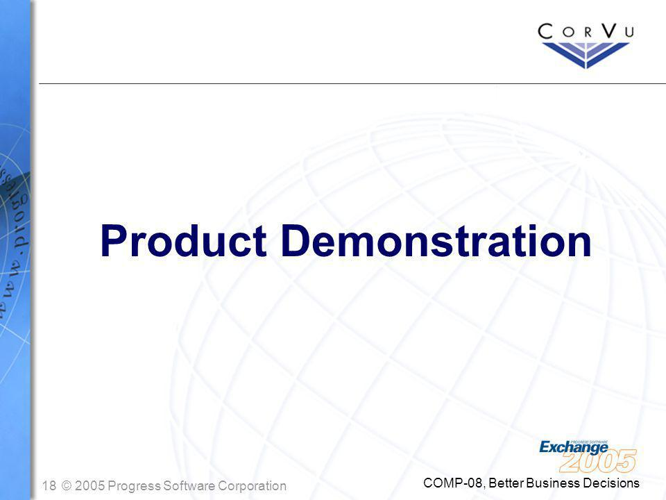 18© 2005 Progress Software Corporation COMP-08, Better Business Decisions Product Demonstration