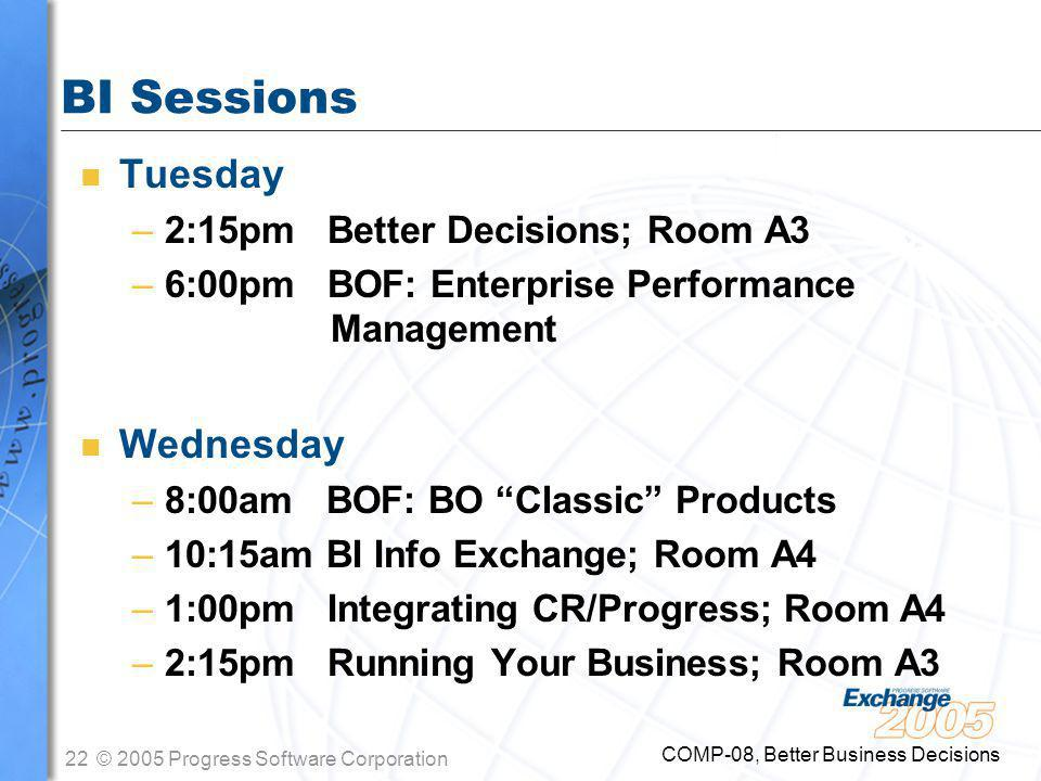22© 2005 Progress Software Corporation COMP-08, Better Business Decisions BI Sessions n Tuesday –2:15pm Better Decisions; Room A3 –6:00pm BOF: Enterprise Performance Management n Wednesday –8:00am BOF: BO Classic Products –10:15am BI Info Exchange; Room A4 –1:00pm Integrating CR/Progress; Room A4 –2:15pm Running Your Business; Room A3