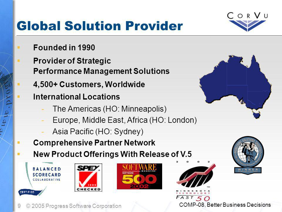 9© 2005 Progress Software Corporation COMP-08, Better Business Decisions  Founded in 1990  Provider of Strategic Performance Management Solutions  4,500+ Customers, Worldwide  International Locations -The Americas (HO: Minneapolis) -Europe, Middle East, Africa (HO: London) -Asia Pacific (HO: Sydney)  Comprehensive Partner Network  New Product Offerings With Release of V.5 Global Solution Provider