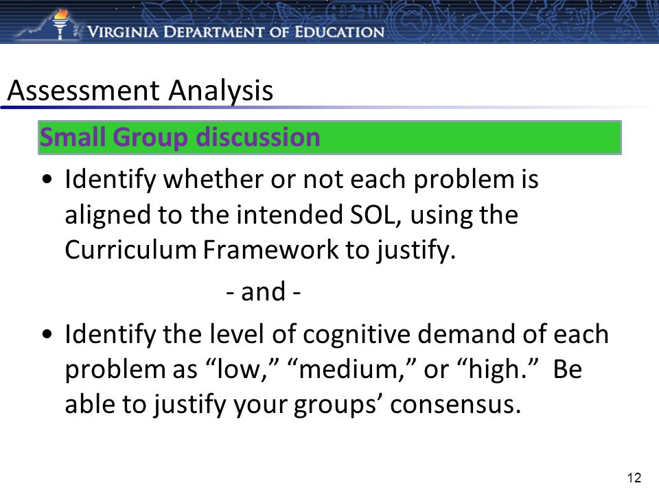 Assessment Analysis Small Group discussion Identify whether or not each problem is aligned to the intended SOL, using the Curriculum Framework to just