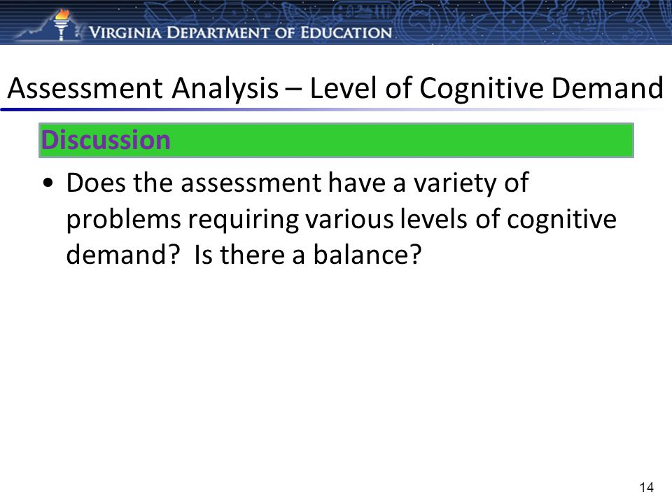 Assessment Analysis – Level of Cognitive Demand Discussion Does the assessment have a variety of problems requiring various levels of cognitive demand