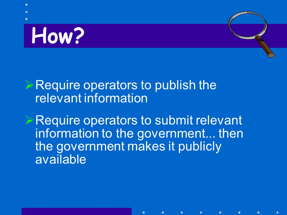  Require operators to publish the relevant information  Require operators to submit relevant information to the government...