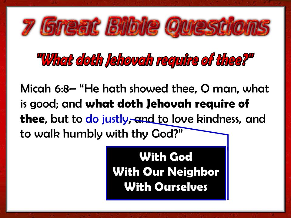 With God With Our Neighbor With Ourselves