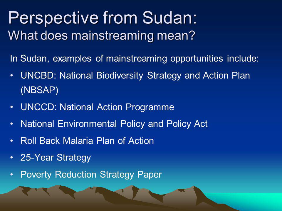 In Sudan, examples of mainstreaming opportunities include: UNCBD: National Biodiversity Strategy and Action Plan (NBSAP) UNCCD: National Action Progra