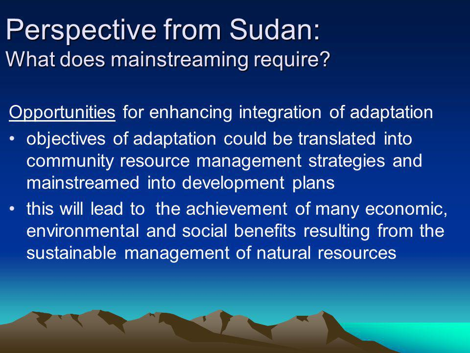 Opportunities for enhancing integration of adaptation objectives of adaptation could be translated into community resource management strategies and m