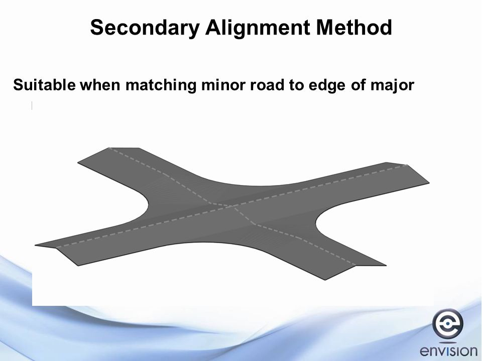 Secondary Alignment Method Suitable when matching minor road to edge of major road