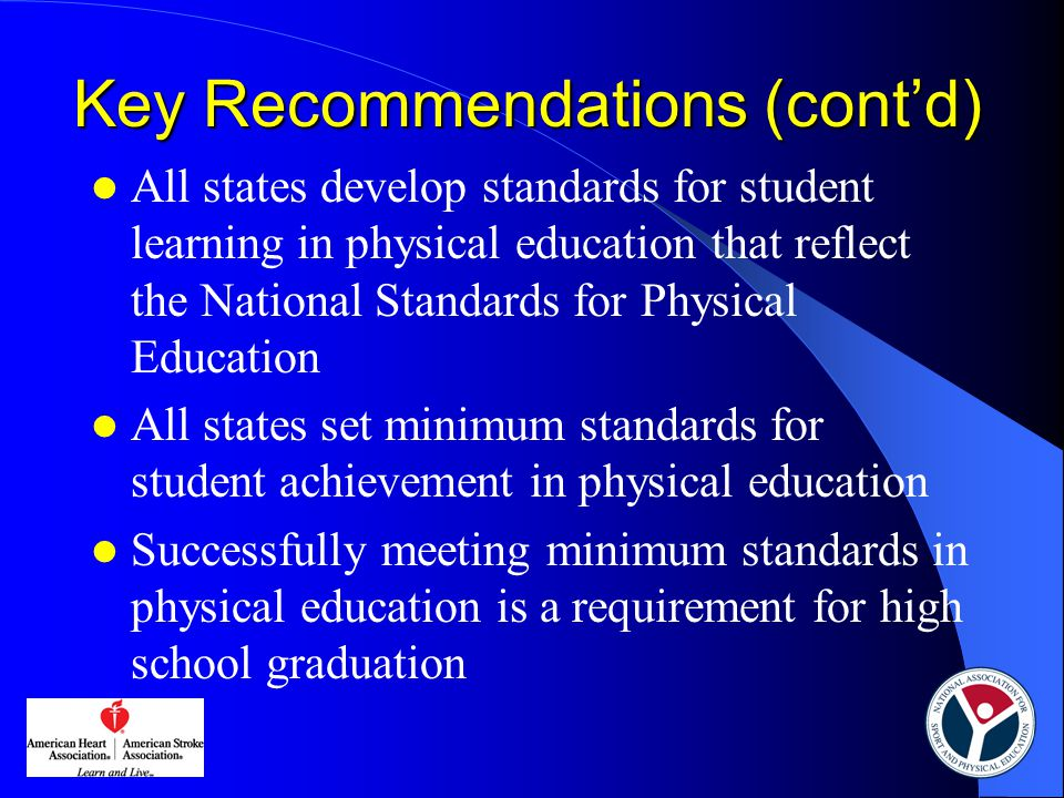 Physical education is delivered by certified/licensed physical education teachers States that require teacher certification/licensure in physical education  Elementary school – 28 states (57%)  Middle school – 43 states (84%)  High school – 46 states (90%)