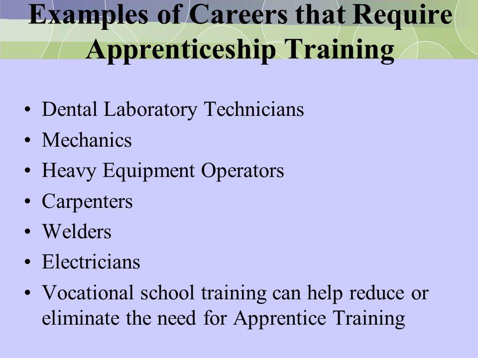 Examples of Careers that Require Apprenticeship Training Dental Laboratory Technicians Mechanics Heavy Equipment Operators Carpenters Welders Electric
