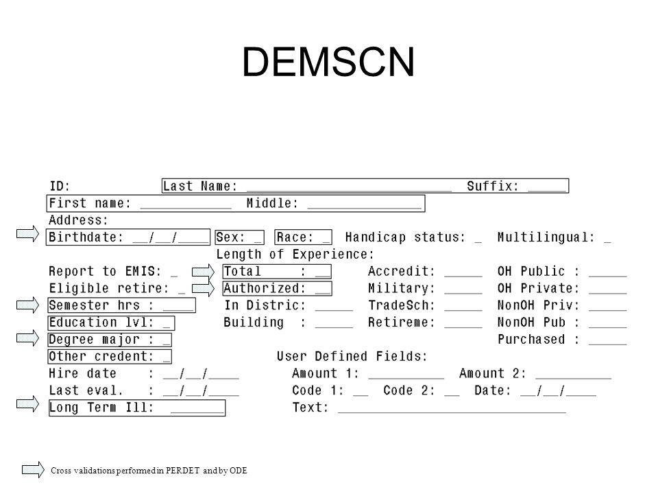 DEMSCN Cross validations performed in PERDET and by ODE