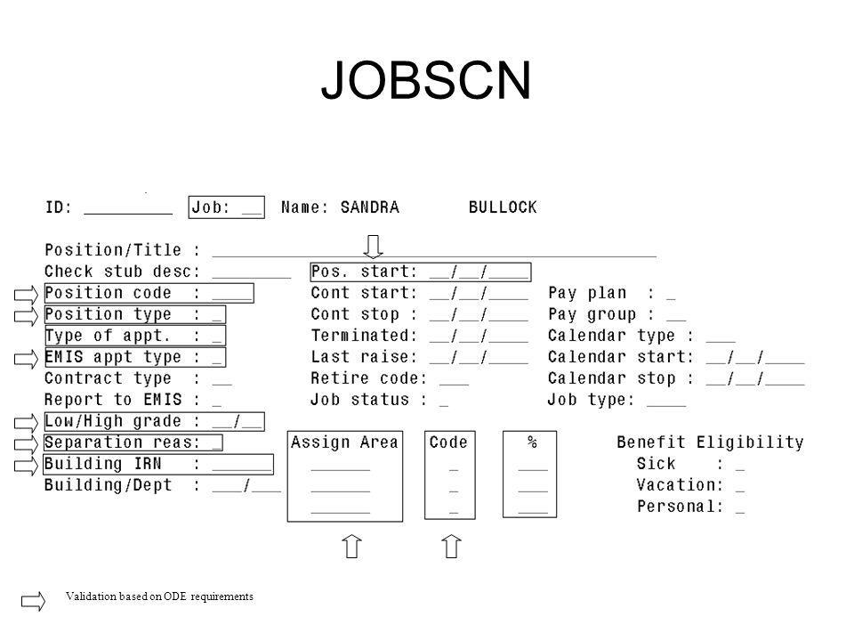 JOBSCN Validation based on ODE requirements