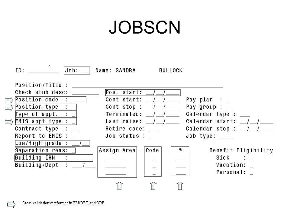 JOBSCN Cross validations performed in PERDET and ODE