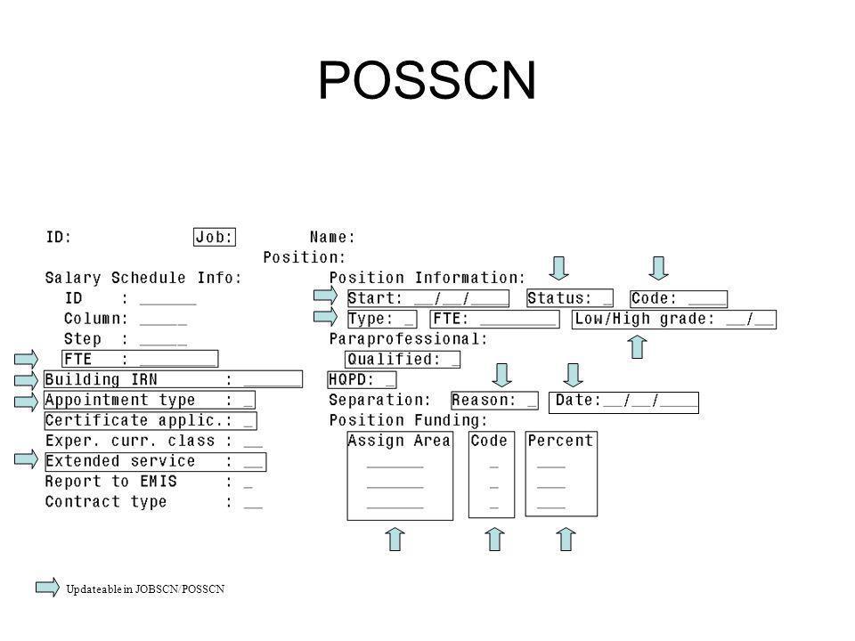 POSSCN Updateable in JOBSCN/POSSCN