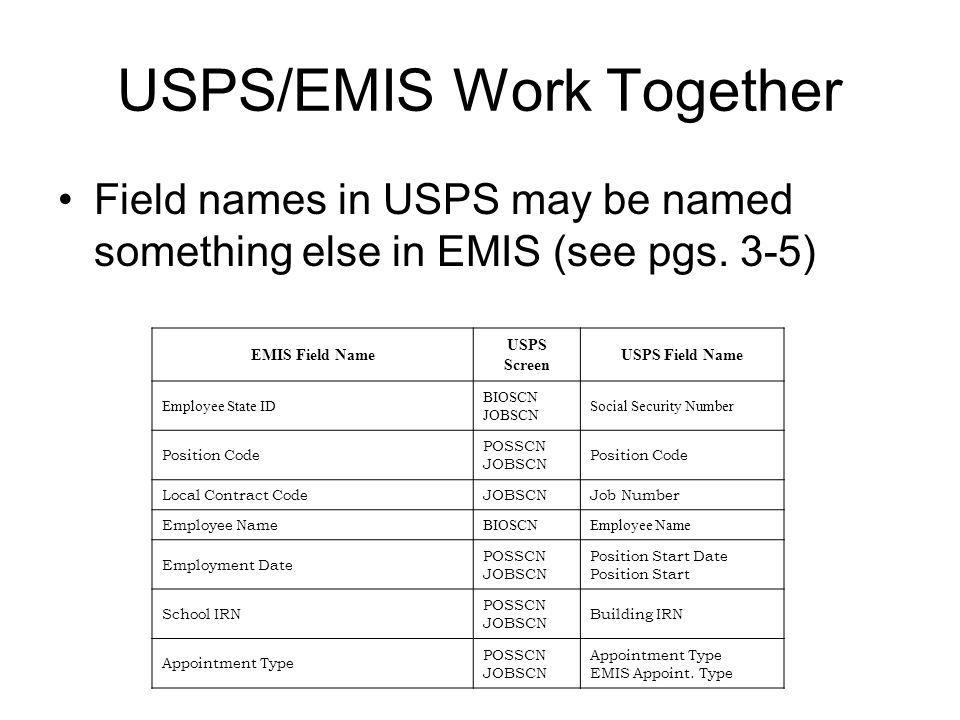 USPS/EMIS Work Together Field names in USPS may be named something else in EMIS (see pgs. 3-5) EMIS Field Name USPS Screen USPS Field Name Employee St