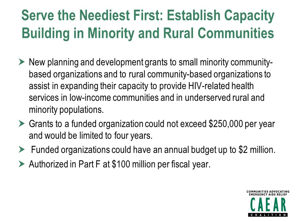 Serve the Neediest First: Establish Capacity Building in Minority and Rural Communities  New planning and development grants to small minority community- based organizations and to rural community-based organizations to assist in expanding their capacity to provide HIV-related health services in low-income communities and in underserved rural and minority populations.