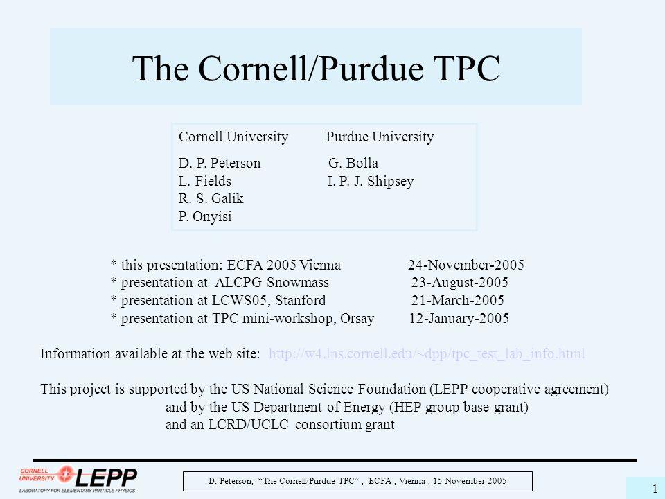 "D. Peterson, ""The Cornell/Purdue TPC"", ECFA, Vienna, 15-November-2005 1 The Cornell/Purdue TPC * this presentation: ECFA 2005 Vienna 24-November-2005"