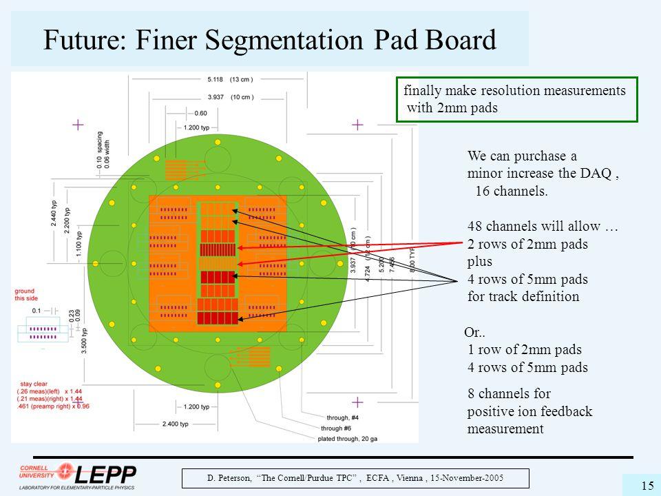 """D. Peterson, """"The Cornell/Purdue TPC"""", ECFA, Vienna, 15-November-2005 15 Future: Finer Segmentation Pad Board We can purchase a minor increase the DAQ"""