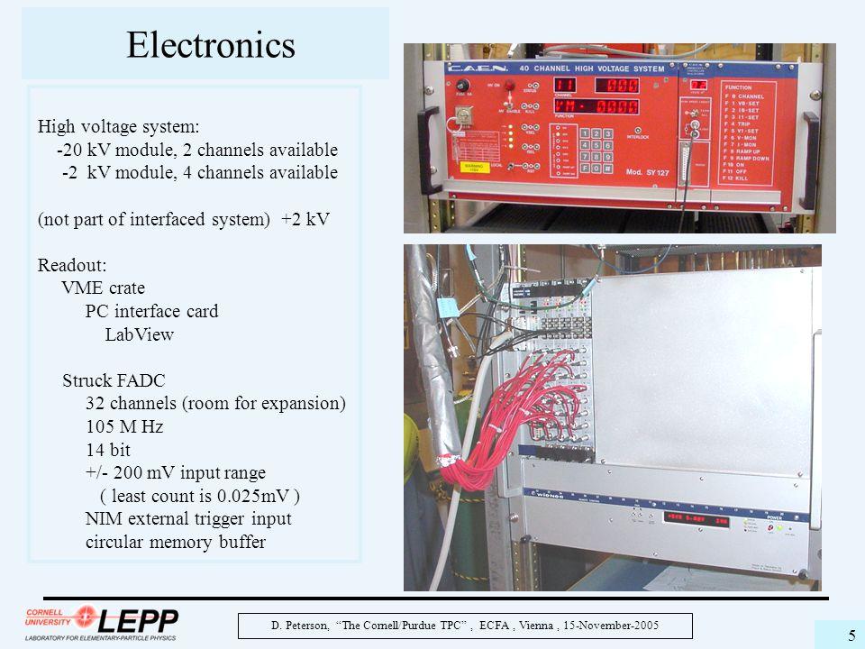 "D. Peterson, ""The Cornell/Purdue TPC"", ECFA, Vienna, 15-November-2005 5 Electronics High voltage system: -20 kV module, 2 channels available -2 kV mod"