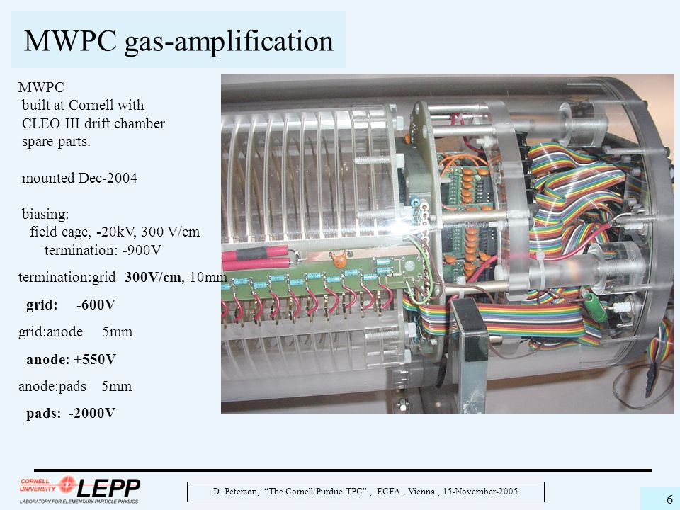 """D. Peterson, """"The Cornell/Purdue TPC"""", ECFA, Vienna, 15-November-2005 6 MWPC gas-amplification MWPC built at Cornell with CLEO III drift chamber spare"""