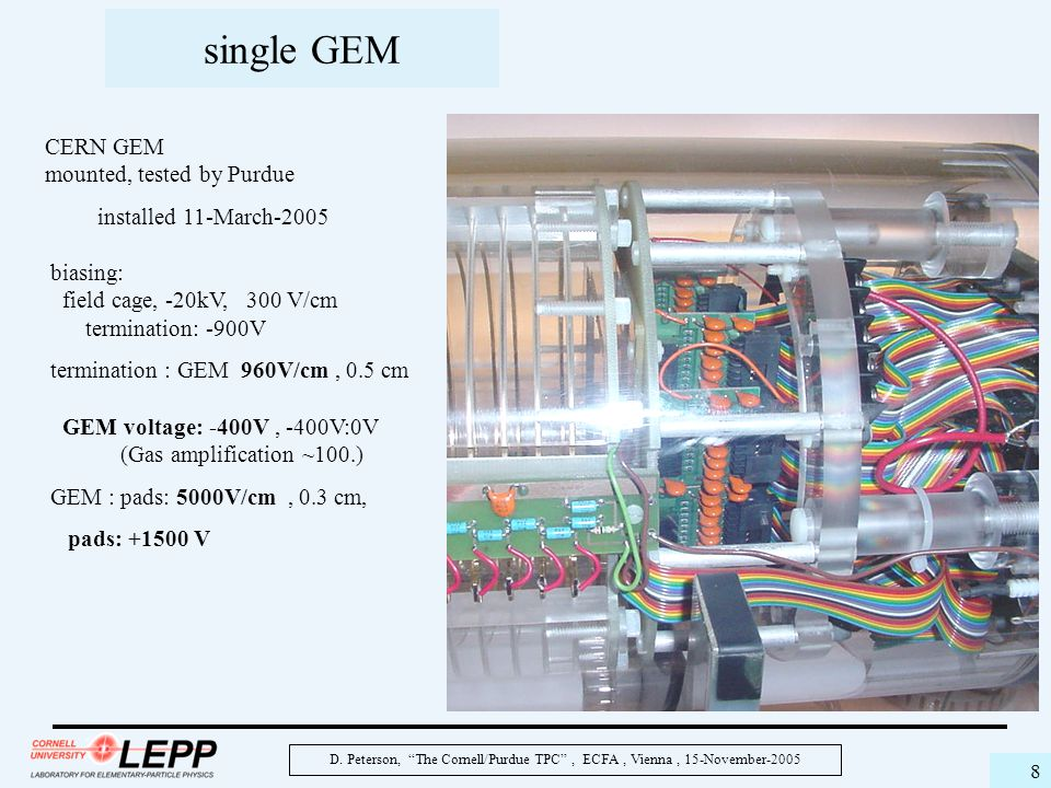 """D. Peterson, """"The Cornell/Purdue TPC"""", ECFA, Vienna, 15-November-2005 8 single GEM CERN GEM mounted, tested by Purdue installed 11-March-2005 biasing:"""