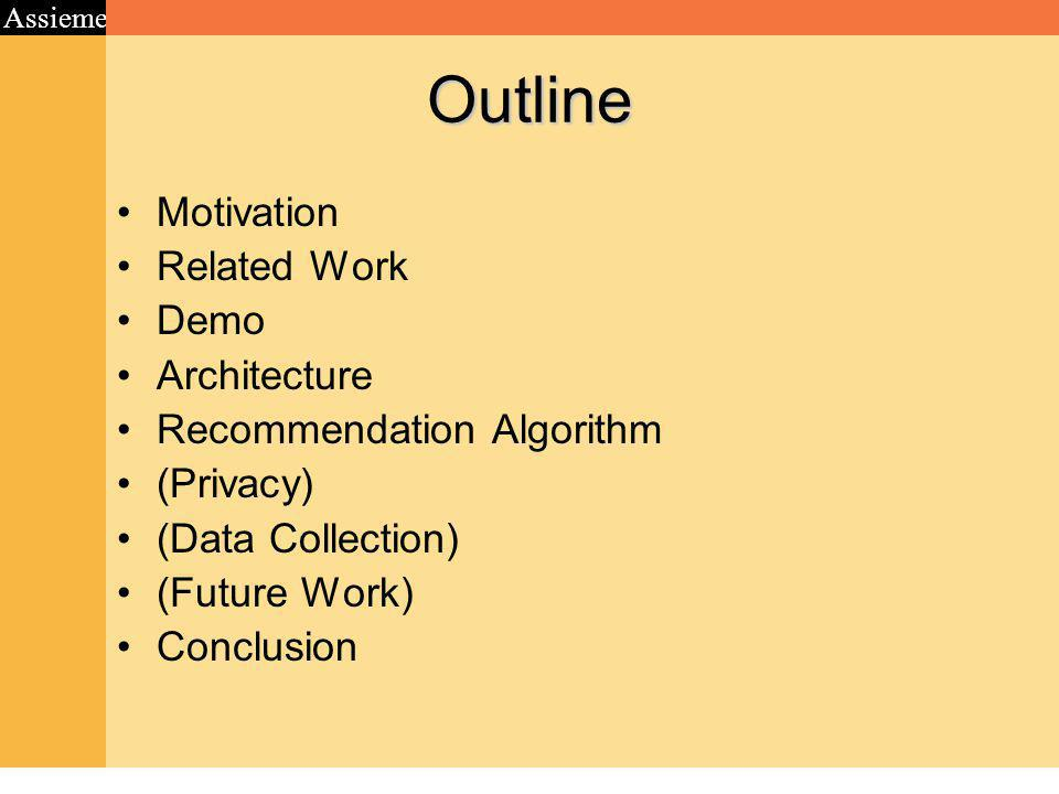 Assieme Outline Motivation Related Work Demo Architecture Recommendation Algorithm (Privacy) (Data Collection) (Future Work) Conclusion