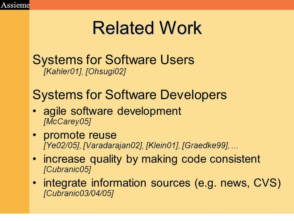 Assieme Related Work Systems for Software Users [Kahler01], [Ohsugi02] Systems for Software Developers agile software development [McCarey05] promote reuse [Ye02/05], [Varadarajan02], [Klein01], [Graedke99],...