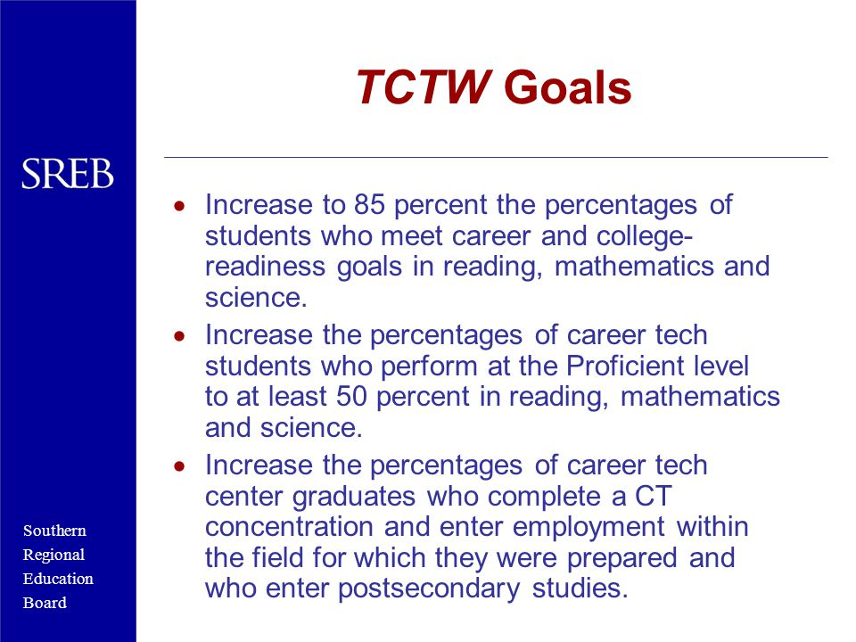 Southern Regional Education Board TCTW Goals  Increase to 85 percent the percentages of students who meet career and college- readiness goals in reading, mathematics and science.