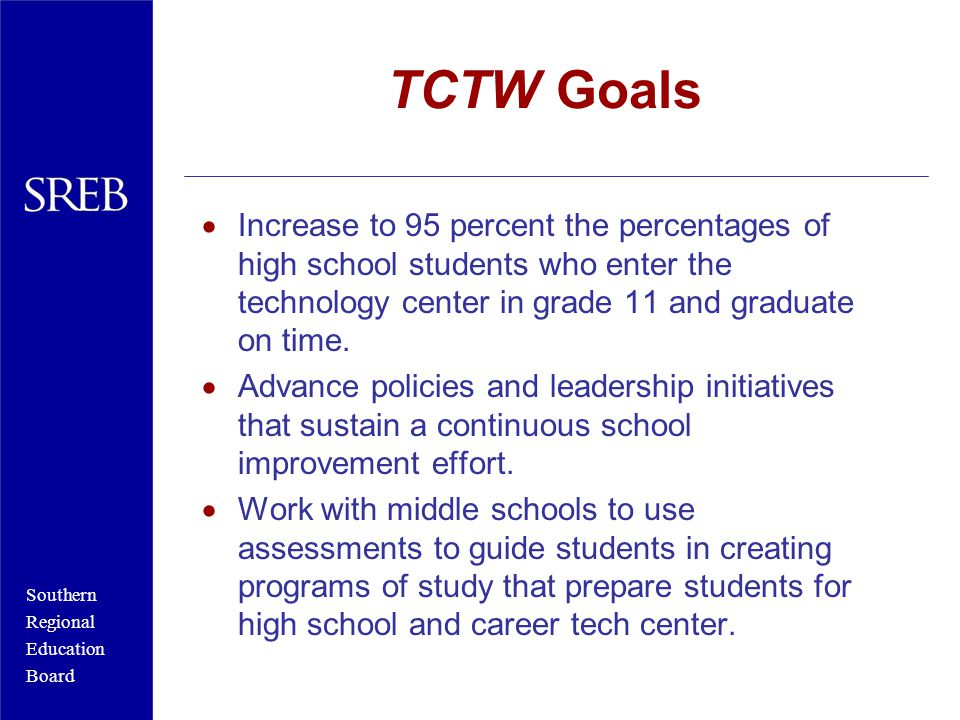 Southern Regional Education Board TCTW Goals  Increase to 95 percent the percentages of high school students who enter the technology center in grade 11 and graduate on time.