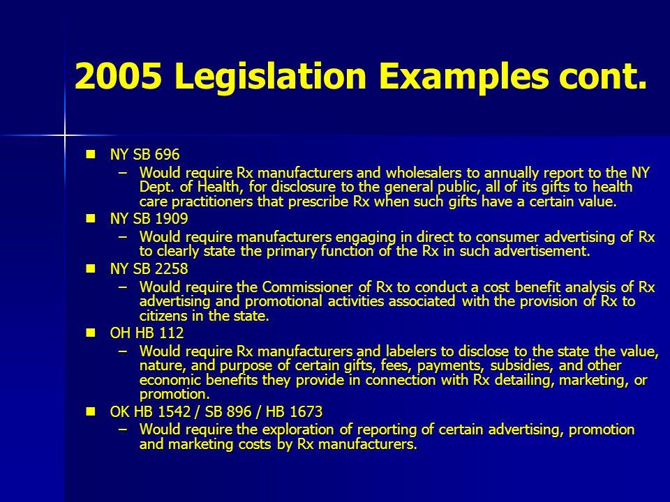 2005 Legislation Examples cont. NY SB 696 –.