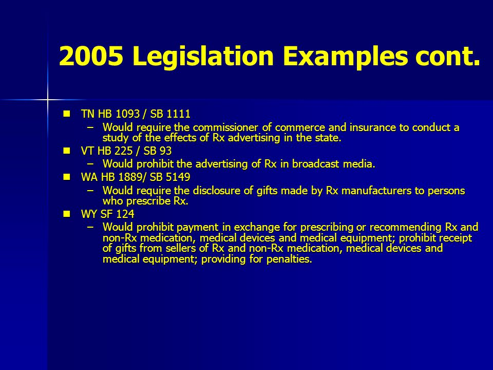2005 Legislation Examples cont. TN HB 1093 / SB 1111 TN HB 1093 / SB 1111 –Would require the commissioner of commerce and insurance to conduct a study