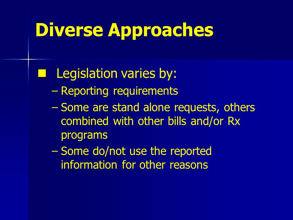 Diverse Approaches Legislation varies by: – –Reporting requirements – –Some are stand alone requests, others combined with other bills and/or Rx programs – –Some do/not use the reported information for other reasons