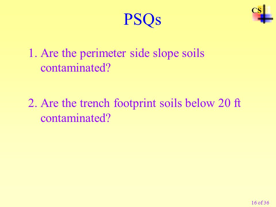 16 of 36 PSQs 1.Are the perimeter side slope soils contaminated.