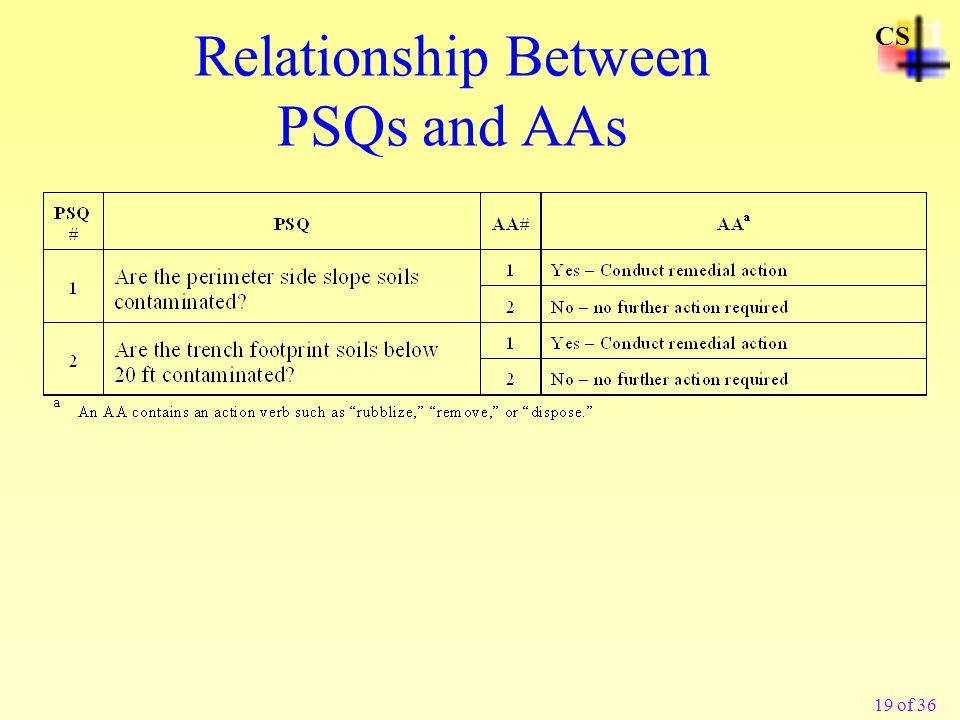 19 of 36 CS Relationship Between PSQs and AAs
