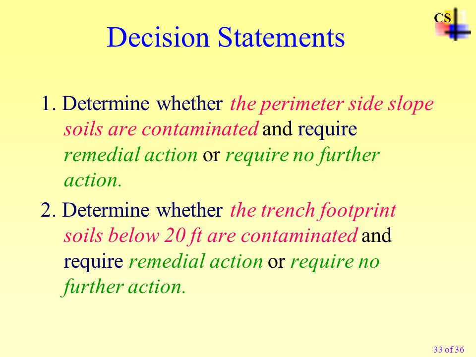 33 of 36 Decision Statements 1.