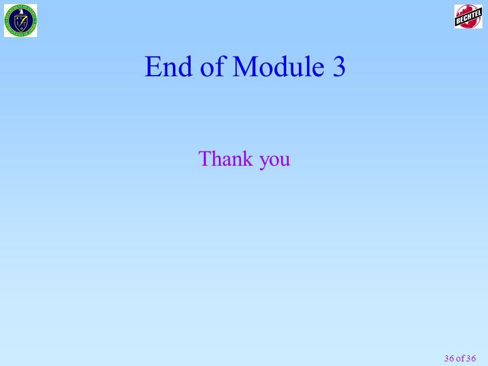 36 of 36 End of Module 3 Thank you