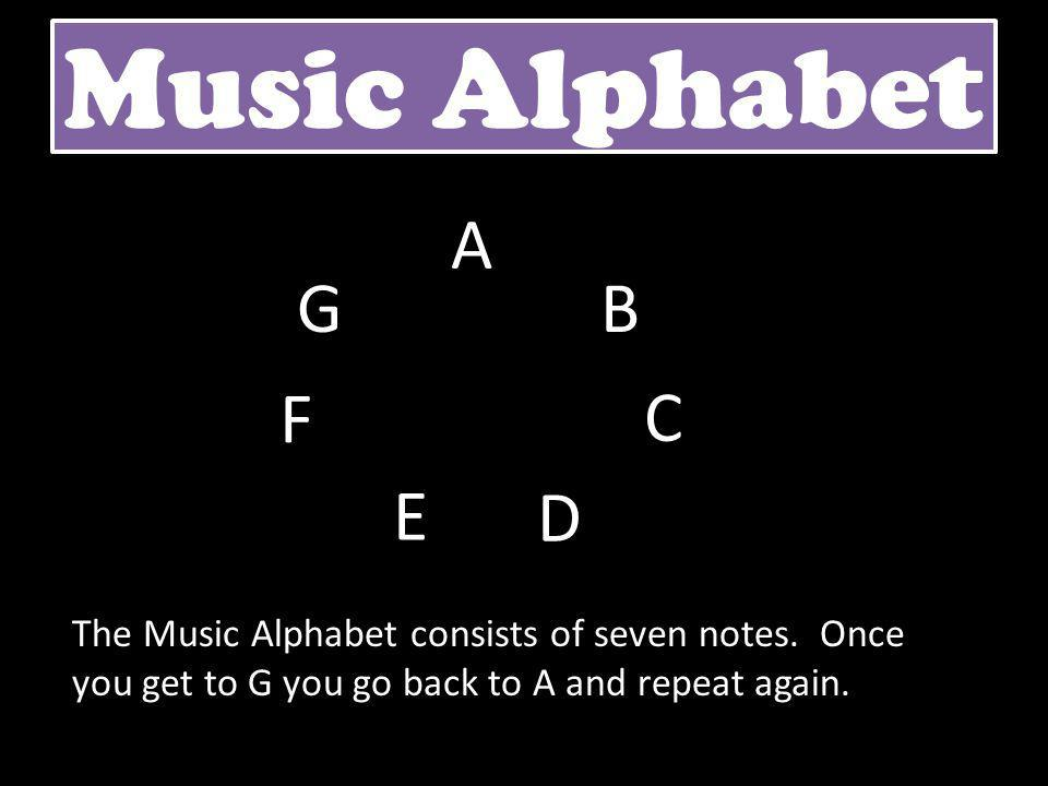 Music Alphabet A B C D E F G The Music Alphabet consists of seven notes. Once you get to G you go back to A and repeat again.