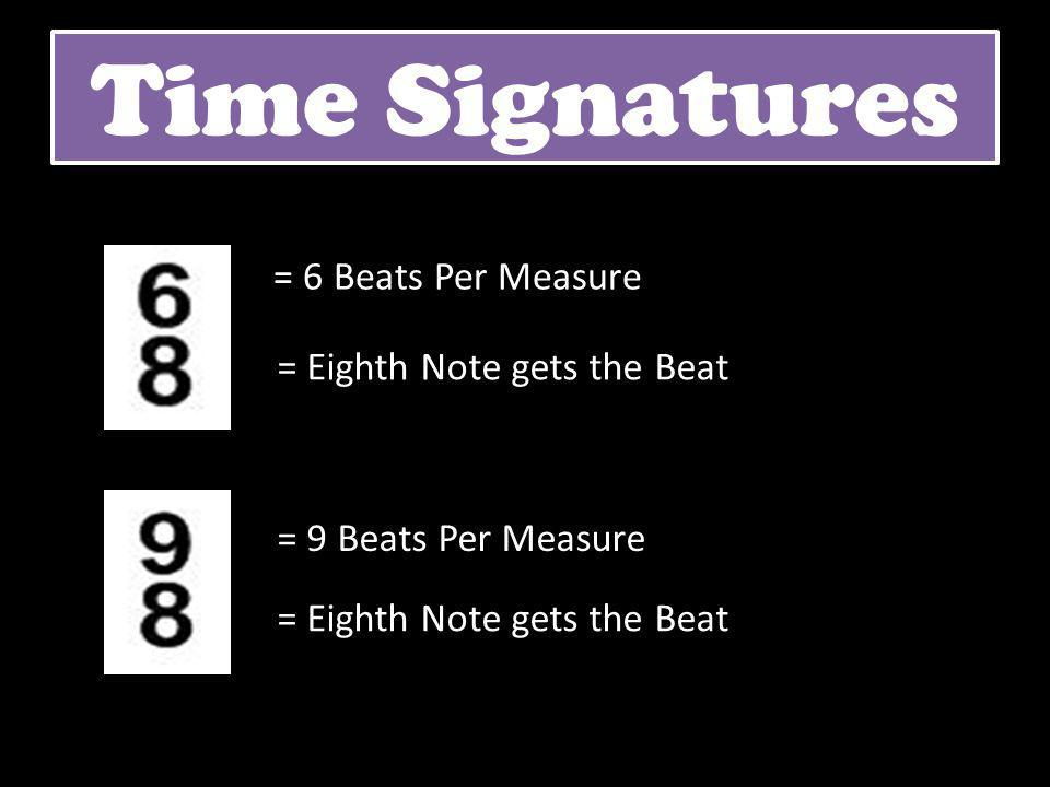 Time Signatures = 6 Beats Per Measure = Eighth Note gets the Beat = 9 Beats Per Measure = Eighth Note gets the Beat