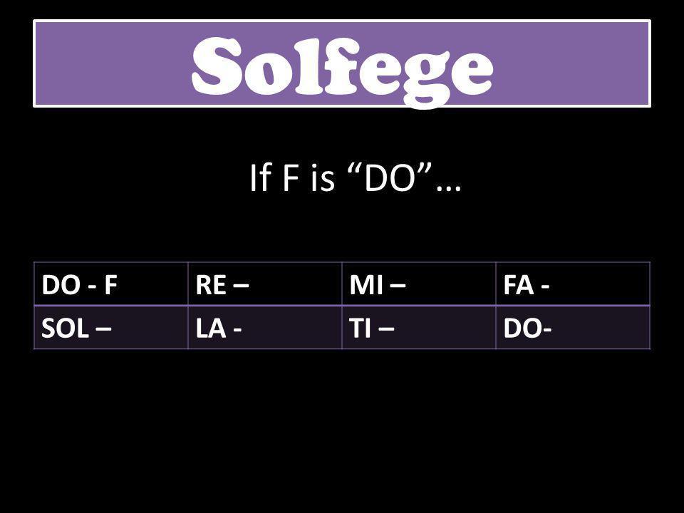 """DO - FRE –MI –FA - SOL –LA -TI –DO- Solfege If F is """"DO""""…"""