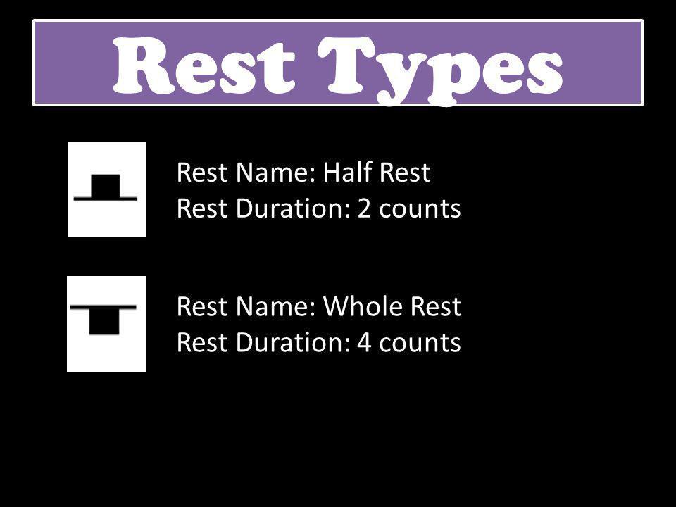 Rest Types Rest Name: Half Rest Rest Duration: 2 counts Rest Name: Whole Rest Rest Duration: 4 counts