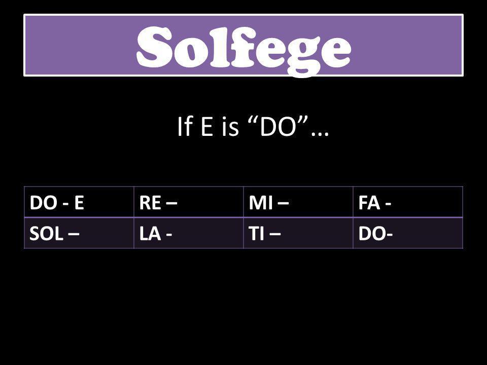 """DO - ERE –MI –FA - SOL –LA -TI –DO- Solfege If E is """"DO""""…"""