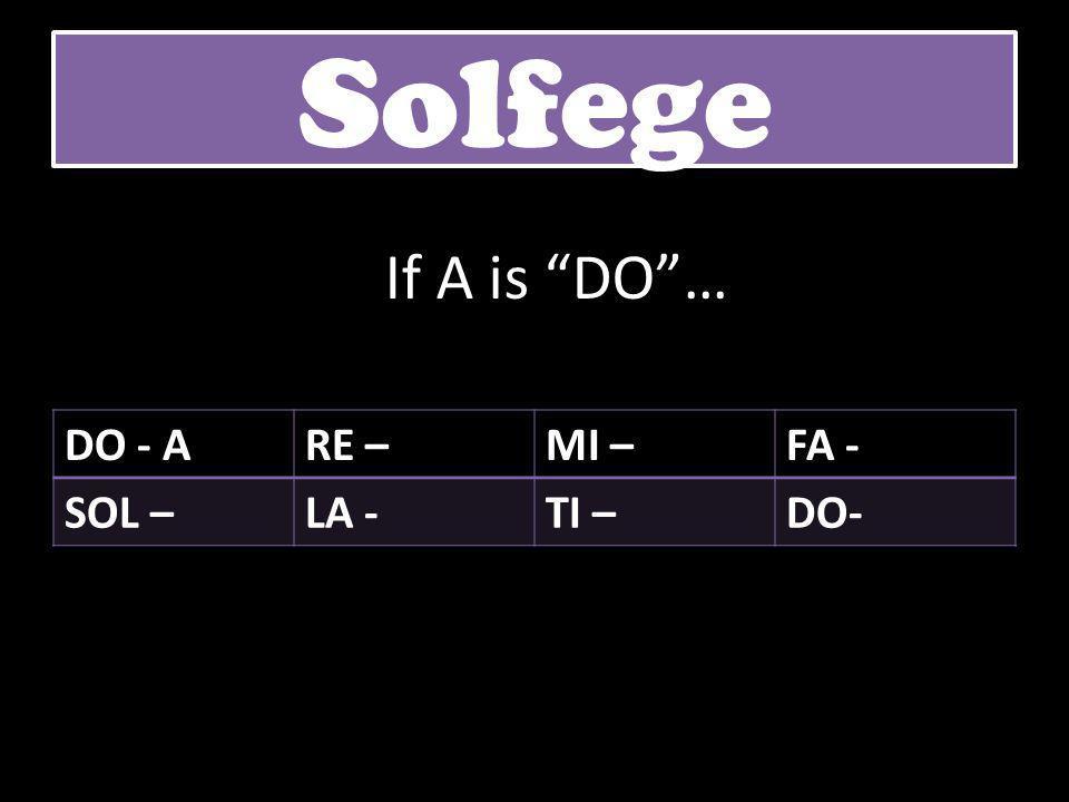 """DO - ARE –MI –FA - SOL –LA -TI –DO- Solfege If A is """"DO""""…"""