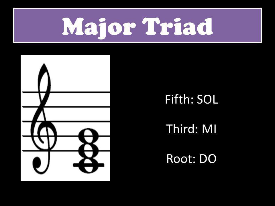 Major Triad Root: DO Third: MI Fifth: SOL