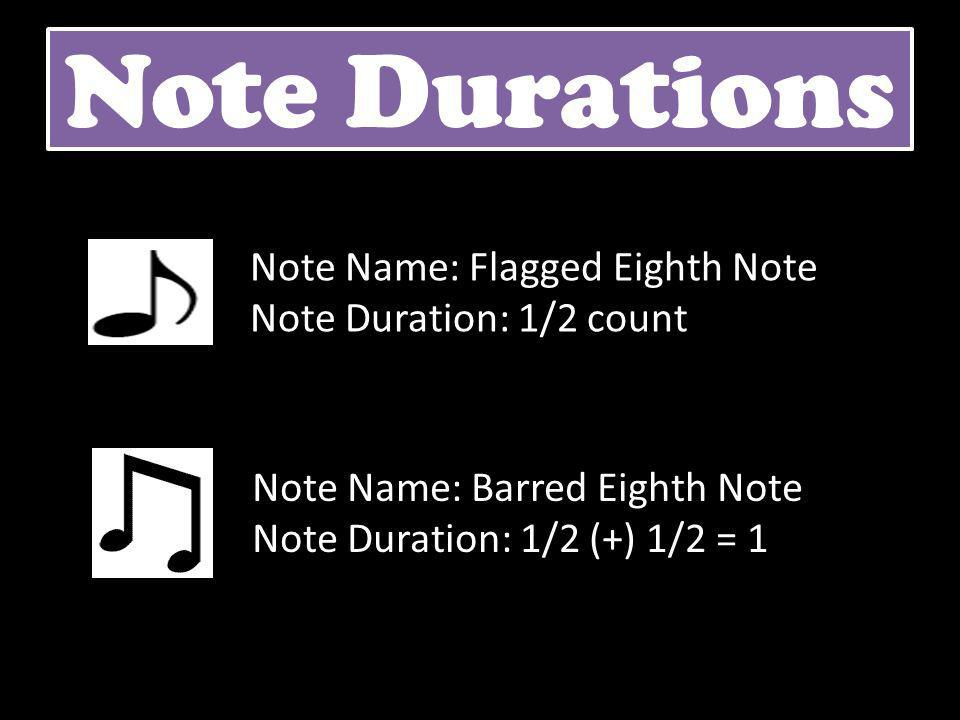 Note Durations Note Name: Barred Eighth Note Note Duration: 1/2 (+) 1/2 = 1 Note Name: Flagged Eighth Note Note Duration: 1/2 count