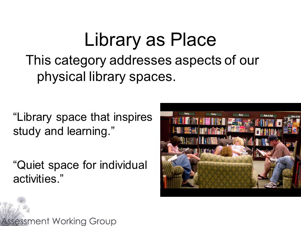 Library as Place This category addresses aspects of our physical library spaces.